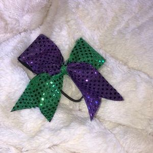 Green and Purple Sequenced Cheer Bow